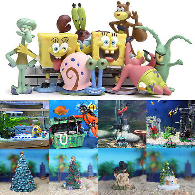 Aquarium Ornament Fish Tank SpongeBob Pineapple House Resin Xmas Landscape Decor](Spongebob Decorations)