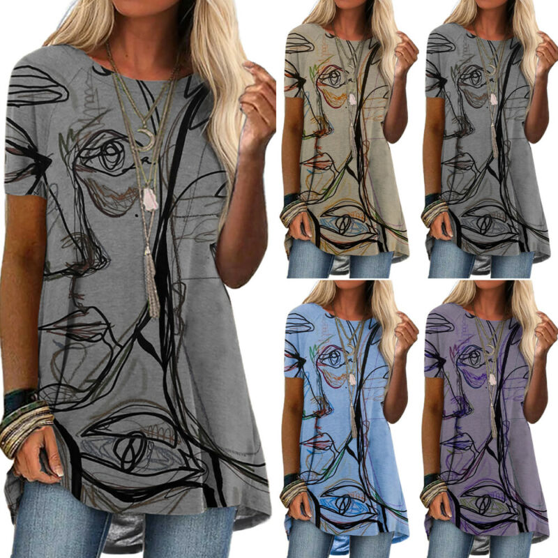 Women Art Printed Short Sleeve Tunic Blouse Summer Casual Holiday T Shirts Tops Clothing, Shoes & Accessories