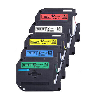 5pk Mk 231 431 531 631 731 Label Tape For Brother P-touch Pt-45m 12mm 12