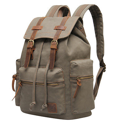 Canvas Leather Backpacks (Hynes Eagle Canvas Leather Backpack Retro Casual Rucksack Travel Satchel Bag NWT )