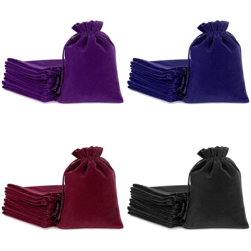 25/50/100 Jewelry Pouches Velour Velvet Drawstring Gift Bags Wedding Favors Sets