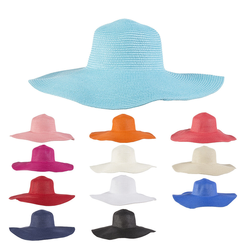 Good Quality Ladies  Summer Sun Beach Floppy Derby Hat Wide Large Brim Straw