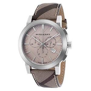 100% New Burberry BU9358 Smoke Check Swiss Chronograph Strap Leather Men's Watch