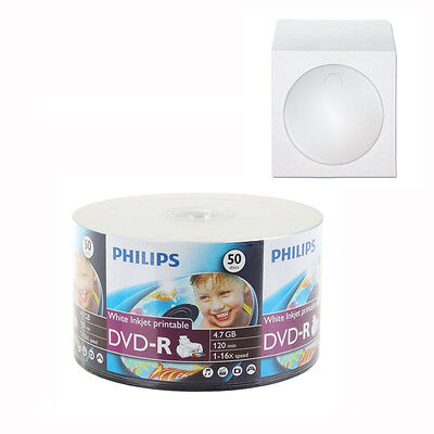 400 Philips Dvd-r 16x White Inkjet Printable 4.7gb Dvd-r ...