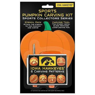 Iowa Hawkeyes Halloween Pumpkin Carving Kit NCAA NEW! 6 patterns - New Halloween Pumpkin Carving Patterns