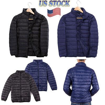 US Men's Winter DOWN FILLED Puffer Jacket PACKABLE Lightweight Warm Coat M-4XL Down Filled Winter Jackets