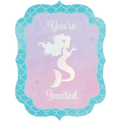 8 Mermaid Shine Postcard Invitations Invites Under The Sea Birthday Party Event](Postcard Invitations)