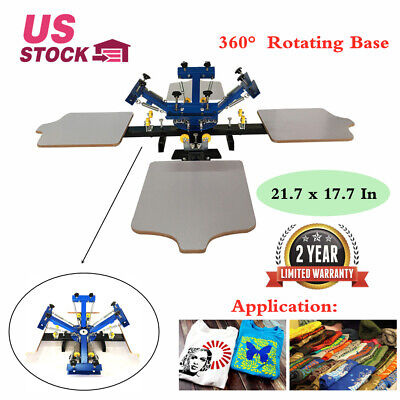 4 Color 4 Station Silk Screen Printing Press Equipment Machine T-shirt Printer