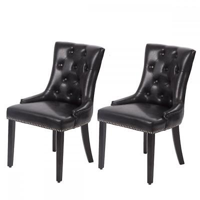 2 Black Dining Chairs - Set of 2 Black Elegant Dining Side Chairs PU Leather Button w/ Nailheads 22L