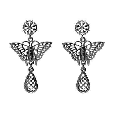 V&A Inspired! Lace Pattern Haematite Prussian Style Butterfly Drop (Butterfly Inspired Fashion)