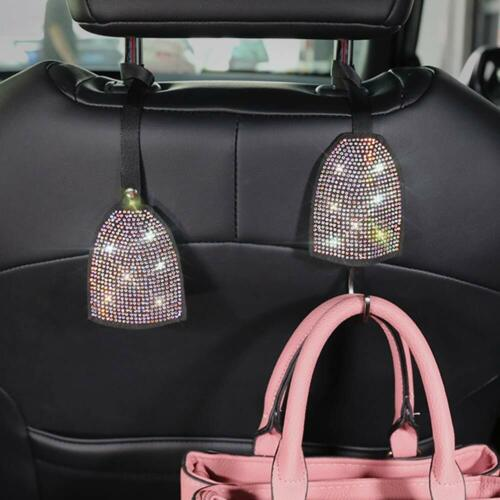 Bling Car Hooks Universal Car Seat Headrest Hooks Car Interior accessories for SUV Truck Vehicle 2 Pack Strong Auto Hooks Charming Colorful Crystal Rhinestone Car Hangers Organizer