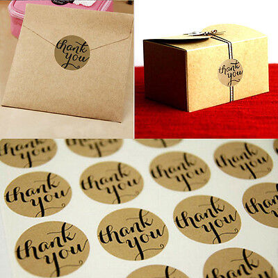 New 120pcs Thank You Round Packaging Seals Kraft Sticker Labels Wedding Decor