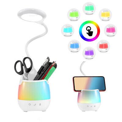 3 Mode LED Desk Lamp Table Bedside Touch Dimmable Reading Night Light Pen Holder