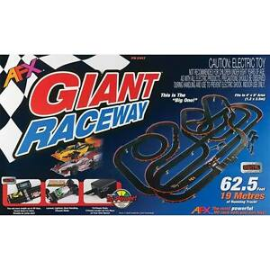 afx ho scale mega g giant raceway 21017 electric slot car race set w tri  power
