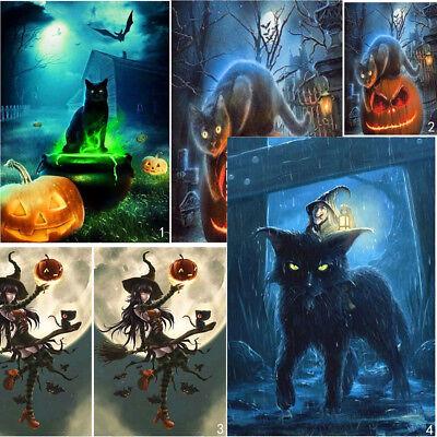 Full Drill Halloween Cat DIY 5D Diamond Painting Cross Stitch Kits Home Decor (Diy Halloween Cat)