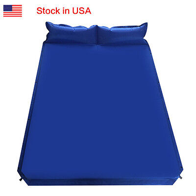 Camping Self-Inflating Air Mat Mattress Pad Pillow Hiking Double Sleeping Bed