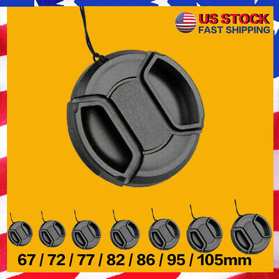 67-105mm Center Pinch Snap On Lens Cap Cover Front For Canon Nikon Sony + String