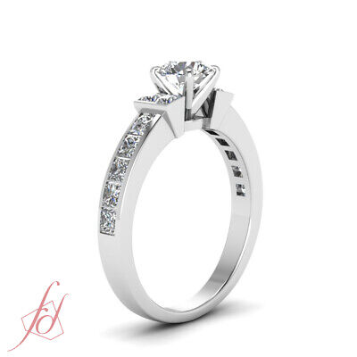 1.80 Ct Channel Set Wedding Ring With Round Cut Diamond In 14K White Gold GIA 2