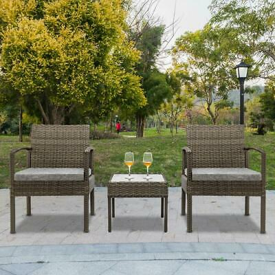Garden Furniture - 3pc Outdoor Patio Bar Table Chairs Bistro Set Garden Pool Backyard Furniture