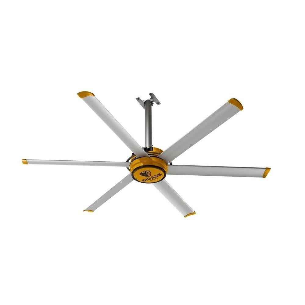 7ft Yellow Silver Aluminum Workshop Ceiling Fan Warehouse Ai