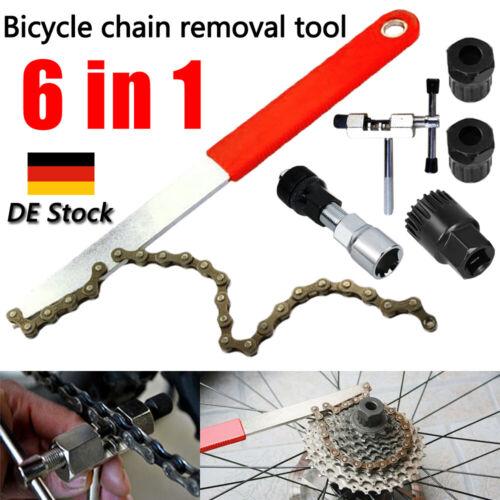 6 in 1 Fahrrad Werkzeug Kettenpeitsche Zahnkranzabzieher Kurbel-Abzieher Kit Set