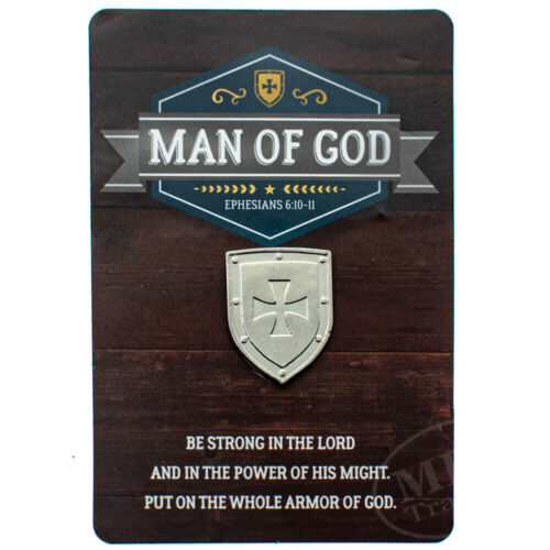Silver Plated Strong Man Of God Christian Shield Lapel Pin Hat Tie Tack Carded