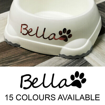 2x PERSONALISED DOG BOWL NAME PAW STICKER CUSTOM WATER/FOOD DISH DECAL TRANSFER