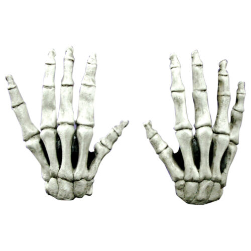 Large White Skeleton Reaper Hands Latex Adult Halloween Costume Gloves