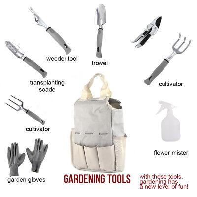 (9 Piece Garden Tools Set Gardening Tools with Garden Gloves Garden Tote Tool Bag)