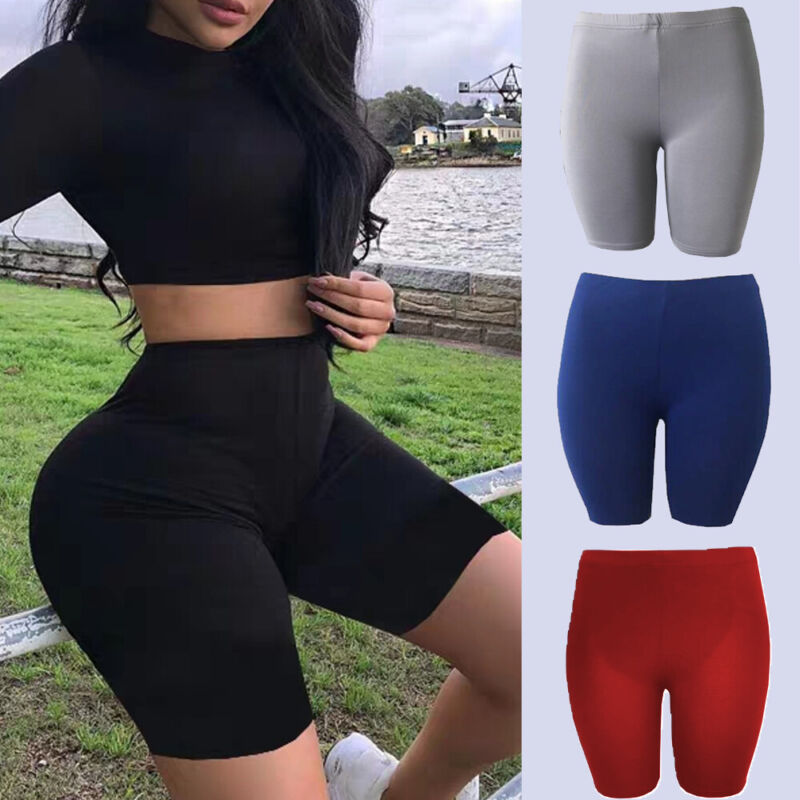 Women Bike Shorts Pants Leggings Cotton Wide Waist Band High