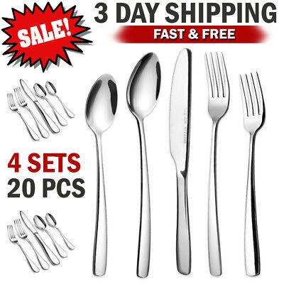 Flatware Set Silverware Set 16 Cutlery Stainless Steel Knife Fork Spoon Teaspoon