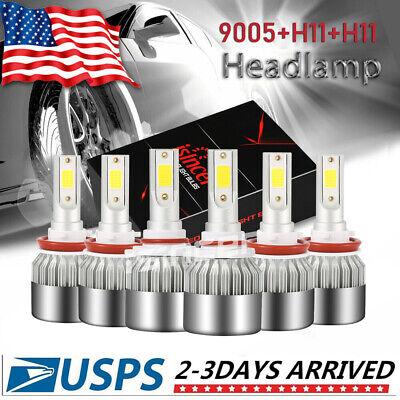 For Chevrolet Silverado 1500 2500 3500 99-07 LED Headlight Kit High/Low+Fog Bulb