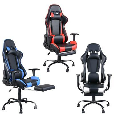 Office Gaming Chair Racing Recliner Bucket Seat Computer Desk Footrest