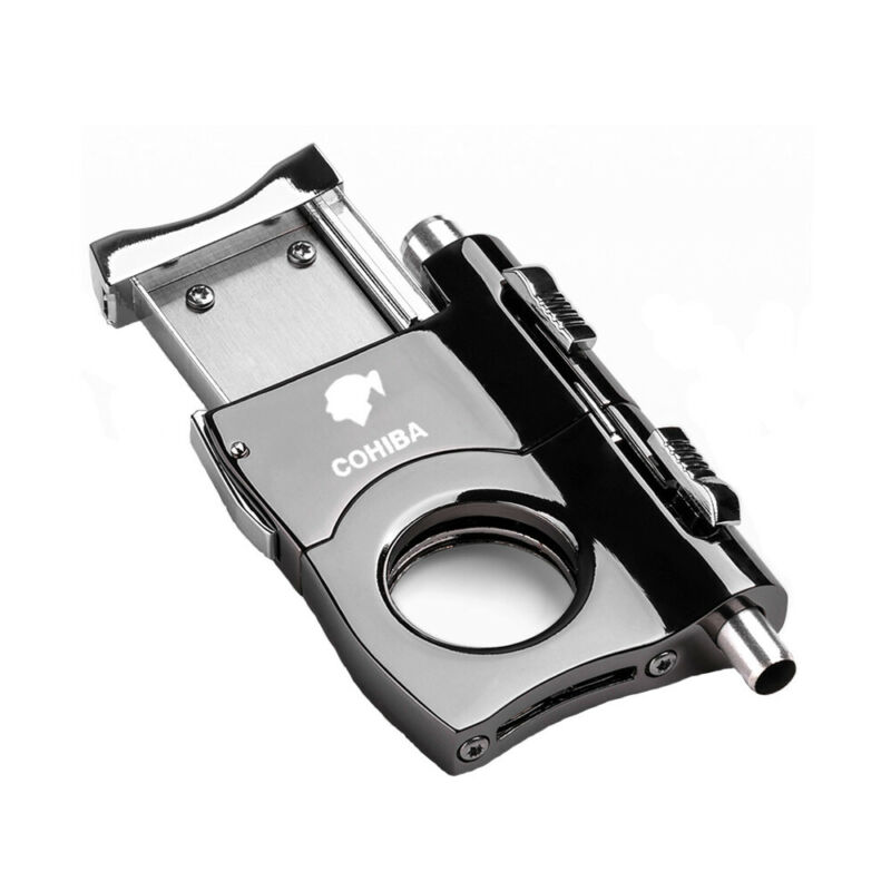 COHIBA Stainless Steel Cigar Cutter Double Blades Cutter With 2 Size Cigar Punch
