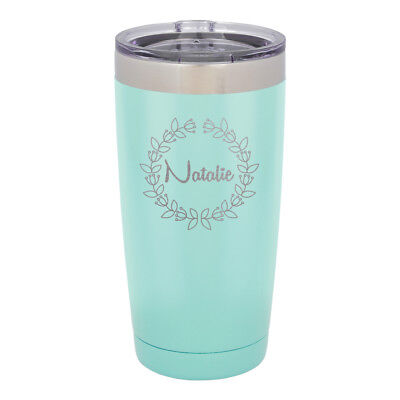 - Stainless Steel Travel Coffee Mug - Black Personalized Laser Engraved Tumbler