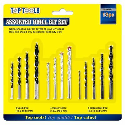 Assorted Drill Set (13 Assorted Drill Bit Set Kit for Wood Masonry Metal Stainless Steel HSS 2-8mm)