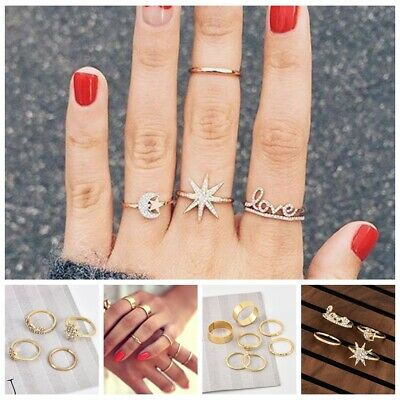 2 Styles Crystal Gold Star Moon Heart Knuckles Rings Bohemian Midi Finger Ring Gold Star Heart