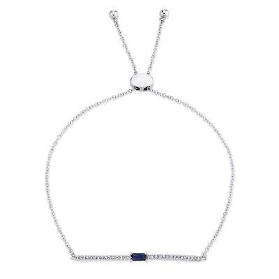 Zafiro Azul Diamante Bolo Pulsera de Barra 14K Oro Blanco Mujer Corte...