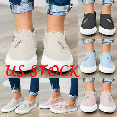 Women's Denim Canvas Loafers Pumps Casual Slip On Flat Soft Sneakers Shoes FJP ()