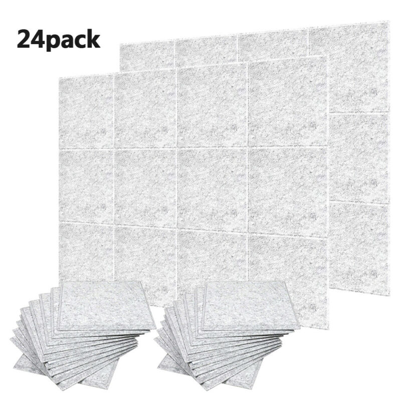 24pcs Sound Proofing Foam Panel High Density Polyester Fiber Acoustic Treatment
