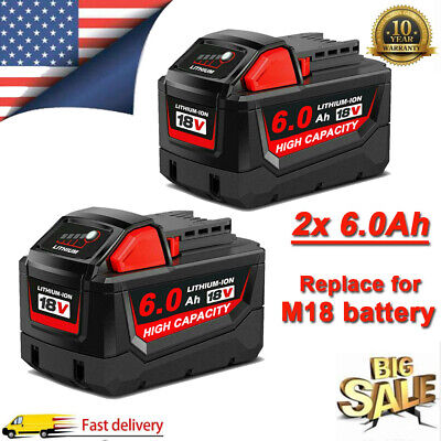 2PACK For Milwaukee M18 Lithium XC 6.0 Extended Capacity Battery 48-11-1860 US
