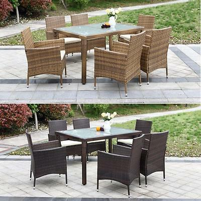 7PCS Outdoor/Indoor Patio Dining Table Set Soft Cushions Garden Furniture O2U6
