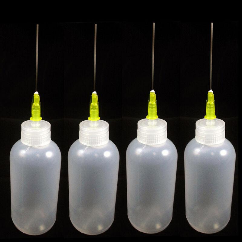 4 Needle Tip Plastic Bottle Dispenser Oil Solvent Ink Applicator Dropper 0.7 Oz