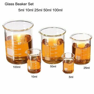 5 Low Form Glass Beaker Set 5-100ml Borosilicate Measuring Lab Glassware