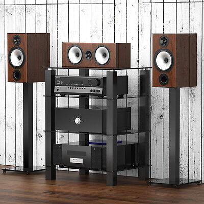 Glass Media Cabinets (Fitueyes Black Glass Media Component Audio Stereo AV Entertainment Cabinet Rack )