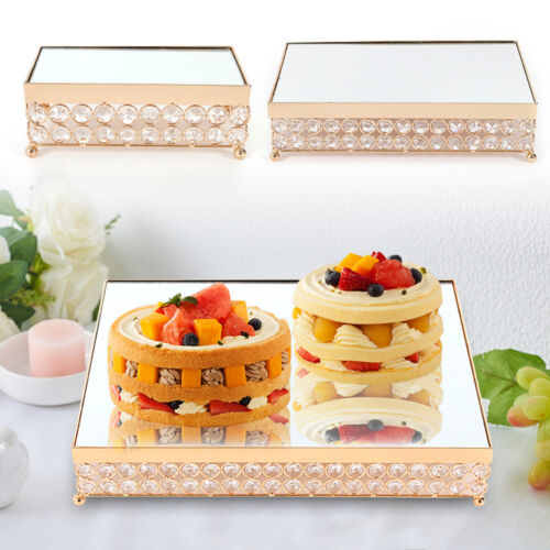 Rectangle mirror cake dessert snack rack stand crystal tray