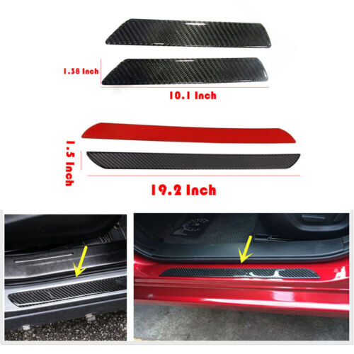 Car Parts - 3D Carbon Fiber Car Parts Door Strip Plate Sill Scuff Cover Sticker Anti Scratch