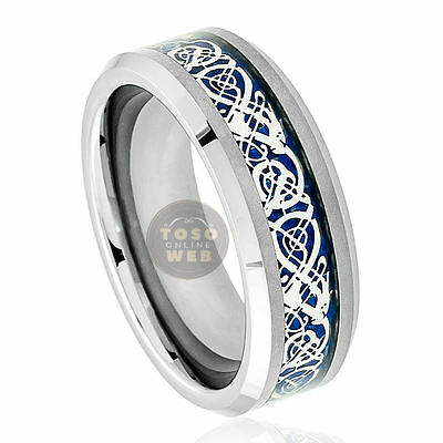 Men's 8mm Tungsten Ring w/ Dragon over Blue Carbon Fiber Inlay Center TS3670 Over Tungsten Mens Ring