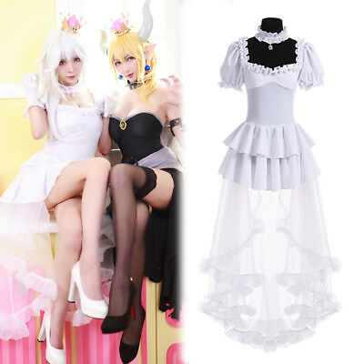 Bowsette Booette Princess Teresa King Boo White Long Sexy Dress Cosplay Costume - Boo Costumes