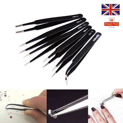 6 PCS Professional Coated Precision Tweezers Set Stainless Steel Non Magnetic UK